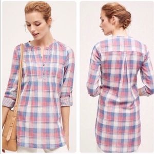 Anthropologie Holding Horses Plaid Tunic Top